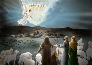 Angels bring glad tidings to the shepherds